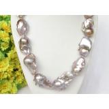 Perlový náhrdelník levandulové jezerní perly reborn keshi 39mm NJ8330