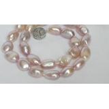 Perlový náhrdelník barokní jezerní levandulové perly 14mm NJ7070