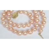 Perlový náhrdelník růžové jezerní perly 10mm NJ7284
