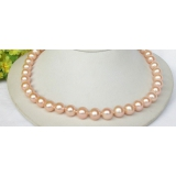 Perlový náhrdelník růžové jezerní perly 11mm NJ8313