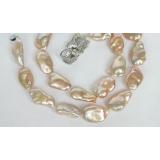 Perlový náhrdelník růžové jezerní perly reborn keshi 22mm NJ7270