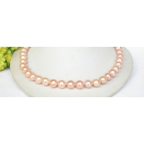 Perlový náhrdelník růžové jezerní perly 11mm NJ8311