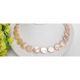Perlový náhrdelník růžové jezerní perly coin 17mm NJ6492