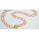 Perlový náhrdelník růžové barokní jezerní perly 11mm NJ7039