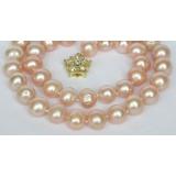 Perlový náhrdelník růžové jezerní perly 12mm NJ7287