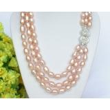 Perlový náhrdelník růžové barokní jezerní perly 11mm NJ7379