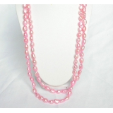 Perlový náhrdelník růžové barokní jezerní perly 11mm NJ6898