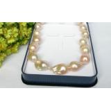 Perlový náhrdelník růžové jezerní perly reborn keshi 30mm NJ7663