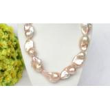 Perlový náhrdelník růžové jezerní perly reborn keshi 34mm NJ8329