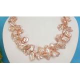 Perlový náhrdelník růžové jezerní perly reborn keshi 20mm NJ6102