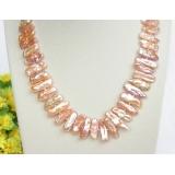 Perlový náhrdelník barokní růžové jezerní perly biwa 24mm NJ8307