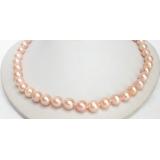 Perlový náhrdelník růžové jezerní perly 10mm NJ7110