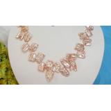Perlový náhrdelník růžové jezerní perly reborn keshi 19mm NJ6103