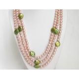 Perlový náhrdelník barevné barokní jezerní perly 12mm NJ7125