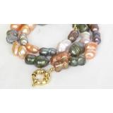 Perlový náhrdelník barevné barokní jezerní perly twinborn 20mm NJ8240