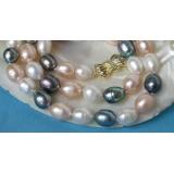 Perlový náhrdelník barevné barokní jezerní perly 12mm NJ5922