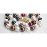 Perlový náhrdelník barevné jezerní perly 12mm NJ5628