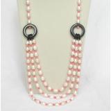 Náhrdelník bílé jezerní perly a růžový korál NJ8497