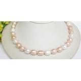 Perlový náhrdelník barevné barokní jezerní perly 12mm NJ7824