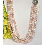 Perlový náhrdelník barevné jezerní perly 9mm NJ8086
