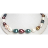Perlový náhrdelník barevné barokní jezerní perly 19mm NJ7105
