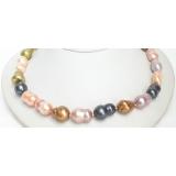Perlový náhrdelník barevné jezerní perly 20mm NJ7108