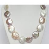 Perlový náhrdelník barokní barevné jezerní perly coin 24mm NJ7063