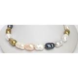 Perlový náhrdelník barevné barokní jezerní perly 20mm NJ7107