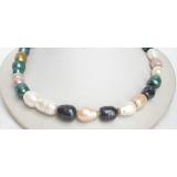 Perlový náhrdelník barevné barokní jezerní perly 20mm NJ7109