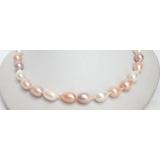 Perlový náhrdelník barevné barokní jezerní perly 17mm NJ7084