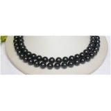 Perlový náhrdelník černé jezerní perly 11mm NJ8567