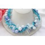 Náhrdelník modrý achát, jezerní perly, tyrkys a křišťál  NB114