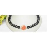 Perlový náhrdelník černé jezerní perly 13mm NJ8616