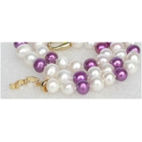Perlový náhrdelník bílé a fialové jezerní perly 9mm NJ8560