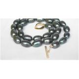 Perlový náhrdelník černé barokní jezerní perly 14mm NJ8655