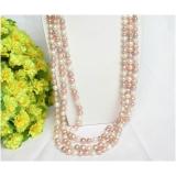 Perlový náhrdelník bílé, levandulové a růžové jezerní perly 8mm NJ8725