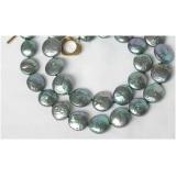 Perlový náhrdelník černé jezerní coin perly 12mm NJ8689