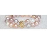 Perlový náramek bílé, růžové a levandulové jezerní perly 12mm BJ8536