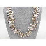 Perlový náhrdelník levandulové jezerní perly reborn keshi 20mm NJ8674