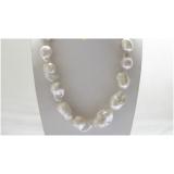 Perlový náhrdelník bílé jezerní perly reborn keshi 29mm NJ8583