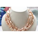 Perlový náhrdelník růžové jezerní perly 22mm NB119