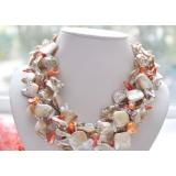 Perlový náhrdelník jezerních perly, krémová perleť a křišťál NB123