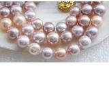 Perlový náhrdelník jezerní růžové a levandulové perly 10mm NJ9467