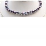Perlový náhrdelník jezerní černé duhové perly 10mm NJ9479