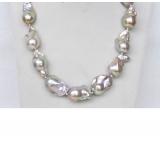 Perlový náhrdelník barokní jezerní levandulové duhové perly 30mm NJ9488