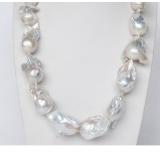 Perlový náhrdelník barokní jezerní bílé perly 31mm NJ9367