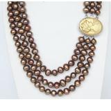 Perlový náhrdelník hnědé jezerní perly 9mm NJ9369