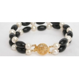 Perlový a korálový náramek jezerní bílé perly a černý korál BJ6749