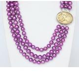 Perlový náhrdelník fialové jezerní perly 9mm NJ9371