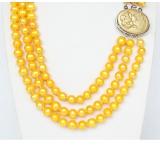 Perlový náhrdelník žluté jezerní perly 9mm NJ9377